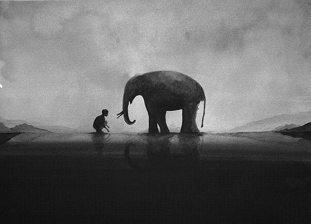 black-and-white-watercolor-art-elicia-edijanto-2