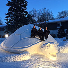 Every Winter, These 3 Brothers Create Stunning Snow Sculptures In Their Front Yard