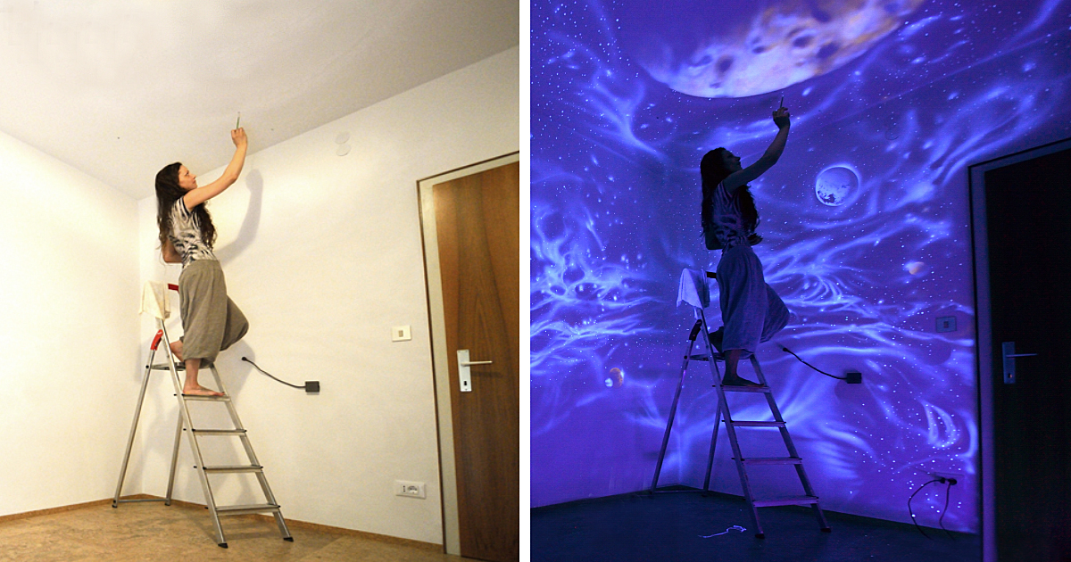 Artist Paints Rooms With Murals That Glow Under Blacklight ...