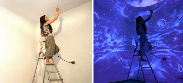 Artist paints rooms with murals that glow under blacklight mozeypictures Gallery
