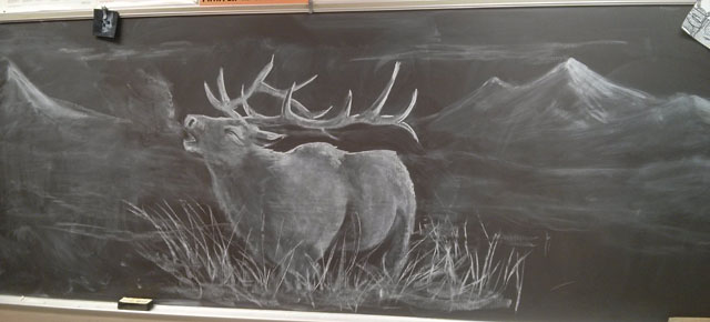 art teacher does some amazing chalkboard drawings to motivate his