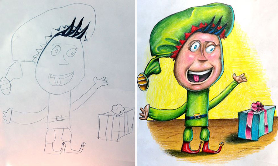 Dad Colors His Children S Drawings To Connect With Them