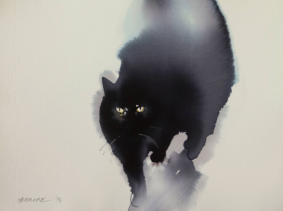 Spooky Watercolor And Ink Cats Flowing Onto Canvas By