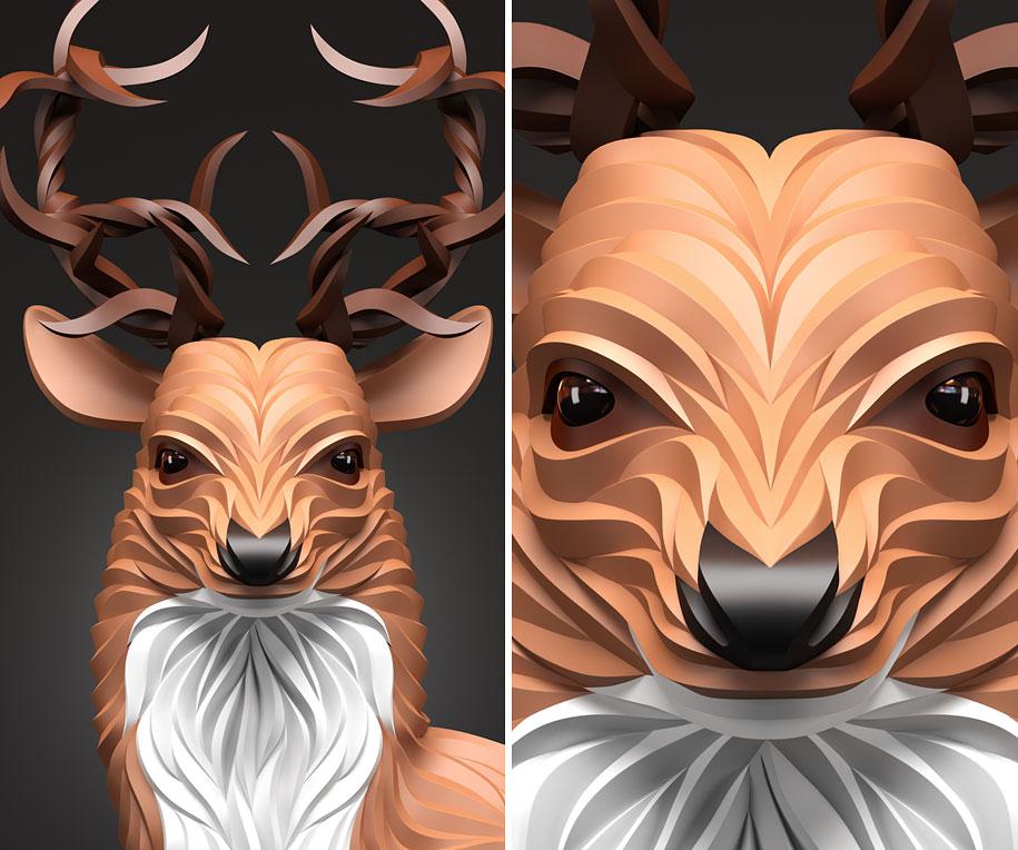 Elegant animal portraits by maksim shkret show their quiet dignity 3d geometry animals wolf hoof maxim shkret 4 voltagebd Images