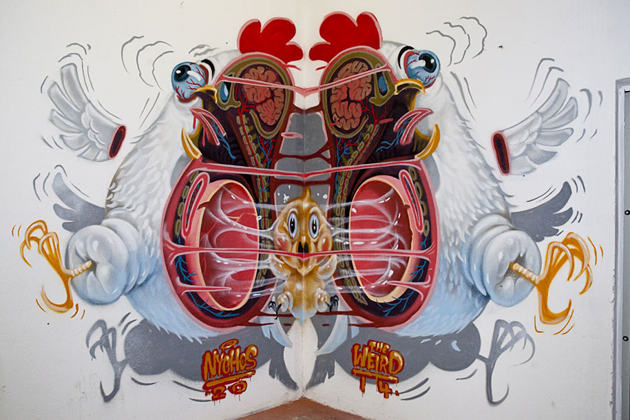 Freaky Graffiti Of Dissected Cartoon Animals And Pop ...