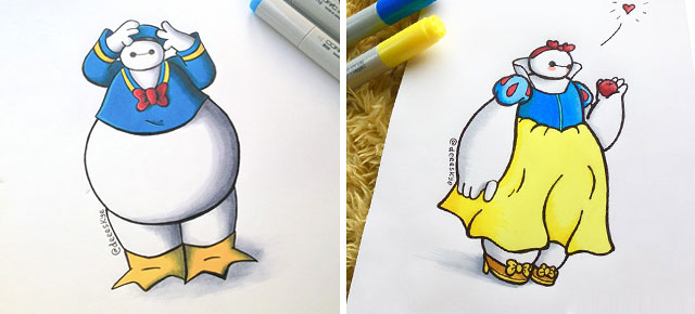 18 Year Old Illustrator Reimagines Baymax As Disney Characters