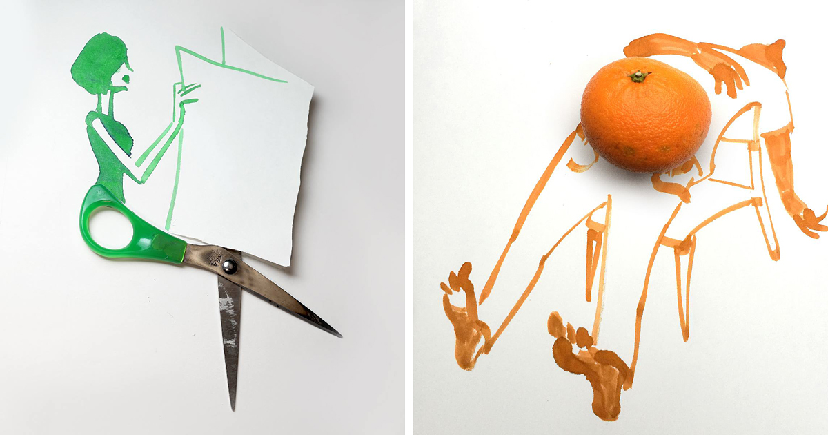 20 clever sketches completed with everyday objects by