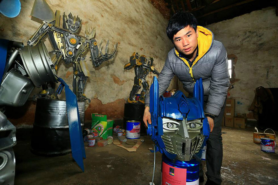 recycled-car-parts-scrap-metal-sculpture-transformers-father-son-farmer-china-06