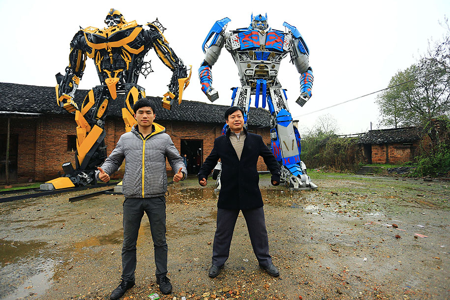recycled-car-parts-scrap-metal-sculpture-transformers-father-son-farmer-china-10