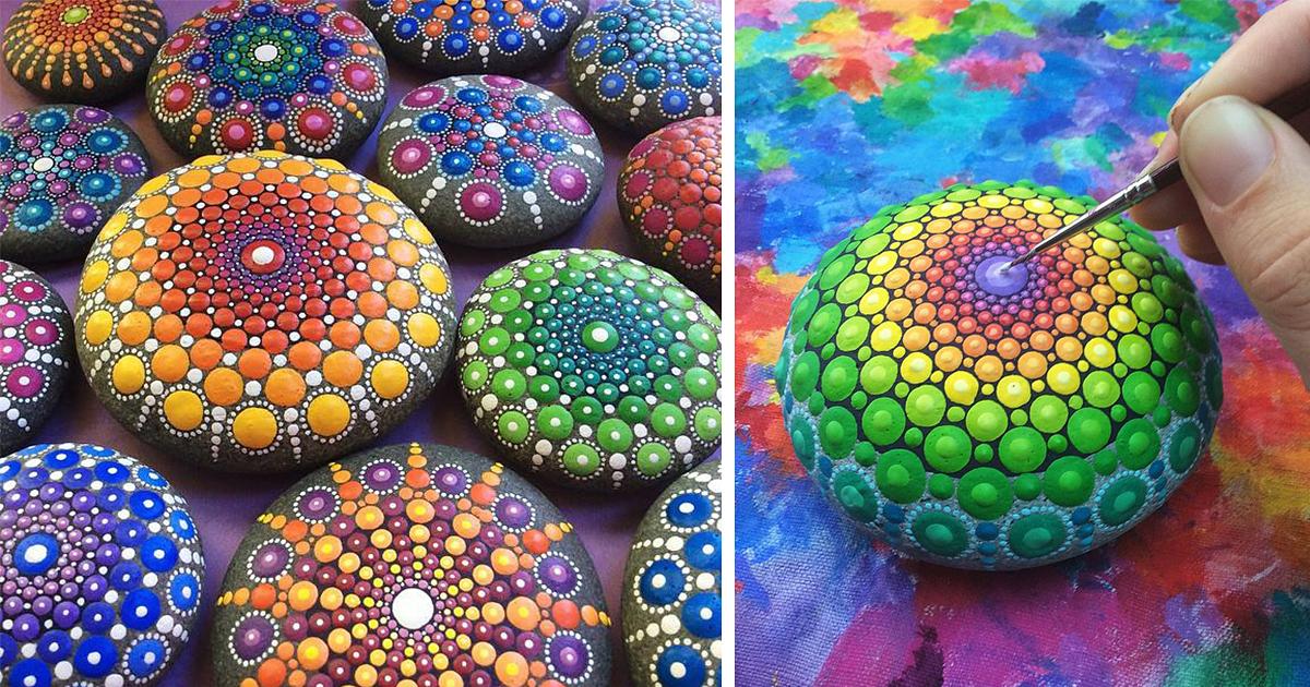 Artist Turns Ocean Stones Into Tiny Mandalas By Painting