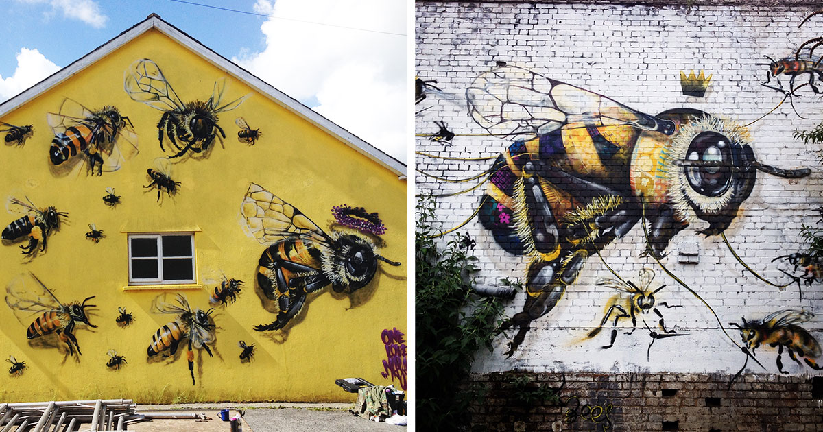 save the bees street art in london to raise awareness