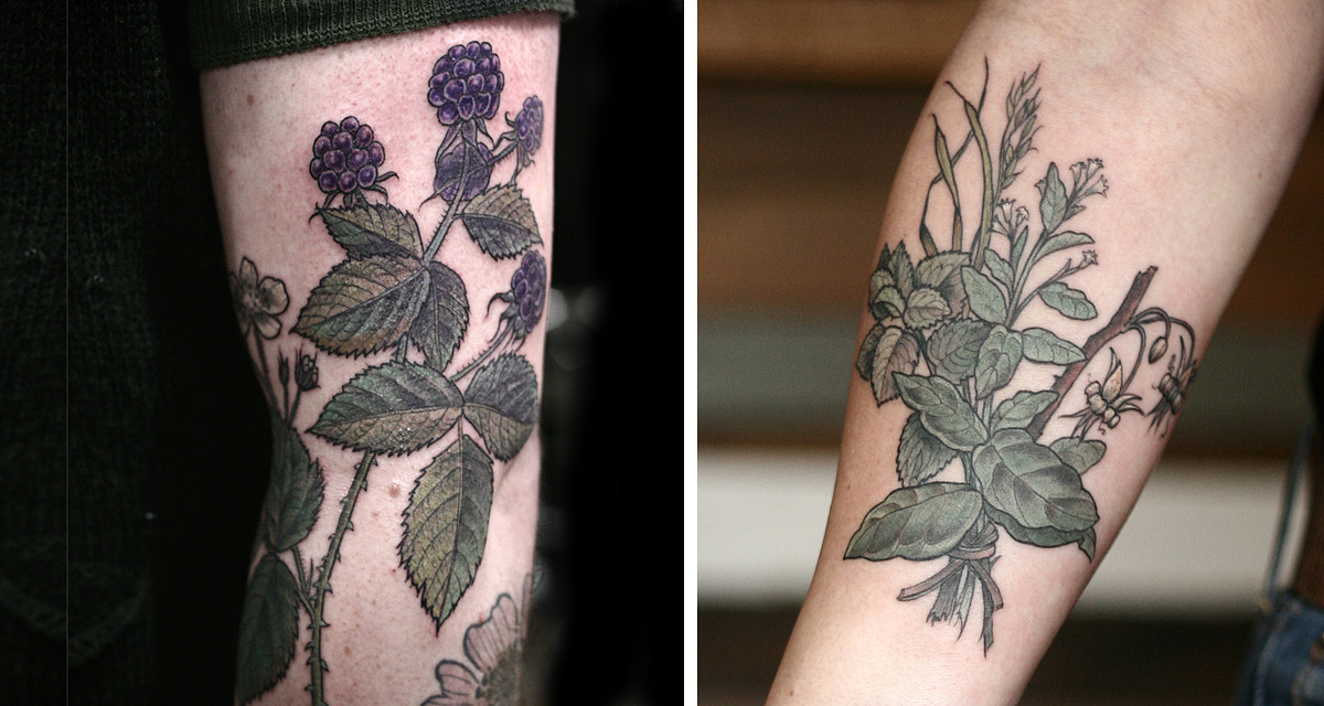 Beautiful botanical tattoos by salem witch descendant for Best tattoo artists in seattle