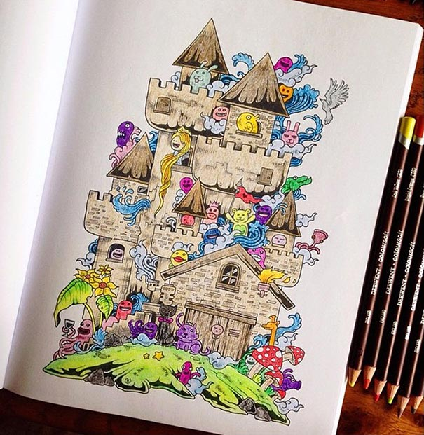 Incredibly Detailed Coloring Books For Adults Called \'Doodle Invasion\'