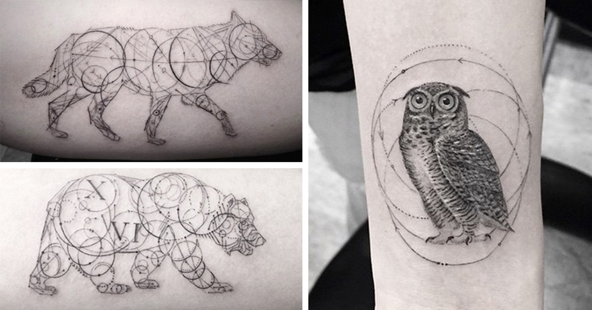 Compass Tattoo Line Drawing : Stunning geometric line tattoos by dr woo