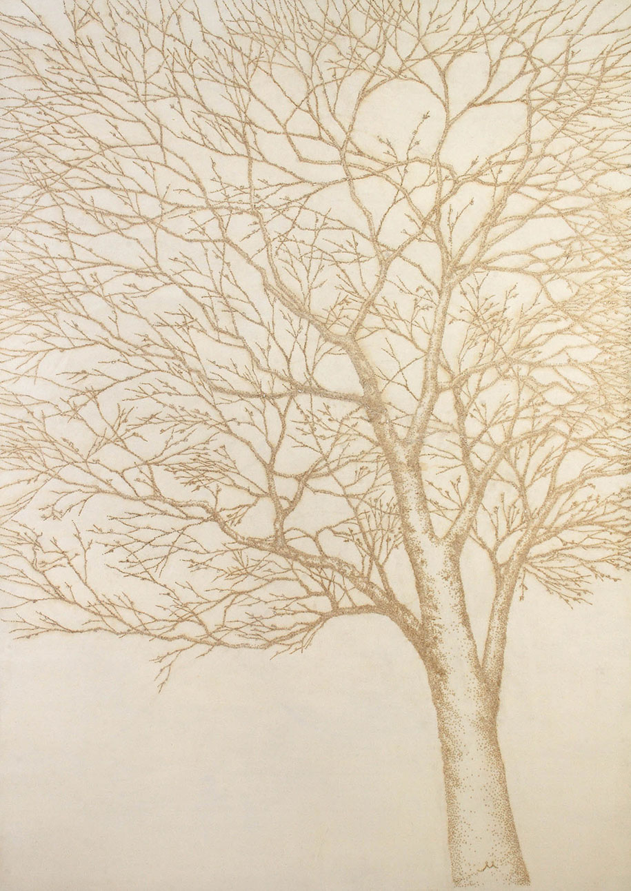 artist burns holes  paper  incense sticks   stunning pointillist art