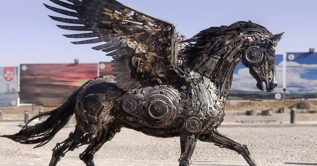 Stunning animal sculptures made from scrap metal by hasan