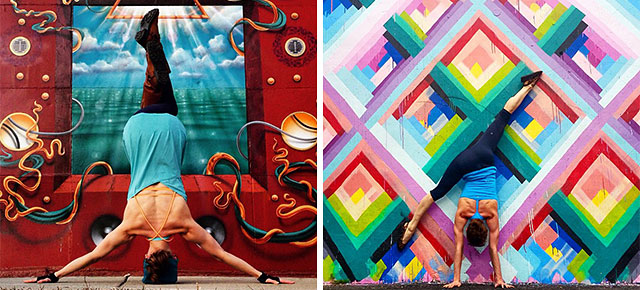 striking yoga poses and colorful street art are perfect