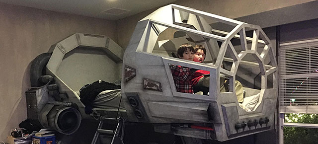 Creative Dad Makes His Son An Epic Star Wars Millennium Falcon Bed