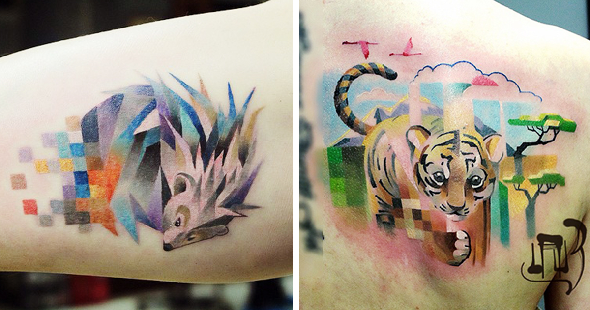 Colorful Tattoos With Pixelated Glitches By Russian Artist