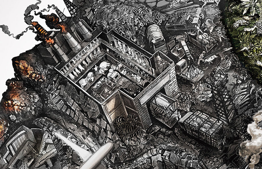 Artists Draw Detailed Illustration Of A World Destroyed By