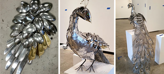 Metal Peacock Made Of Spoons And Other Metal Things Found