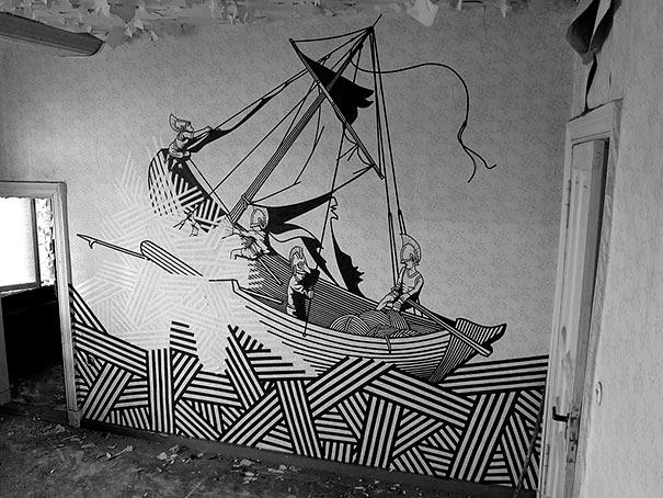 Street Wall Art Black And White : Tape street art by buff diss