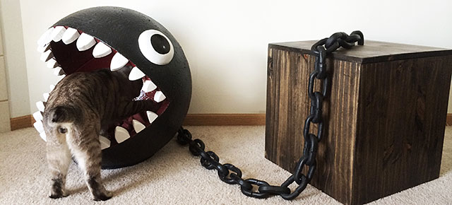 Cat Bed Made To Look Like Super Mario's Chain Chomp Monster