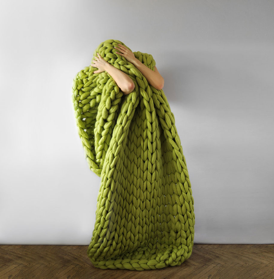 Knitting Wool Blanket : Chunky hand knit blankets for giants that also work humans