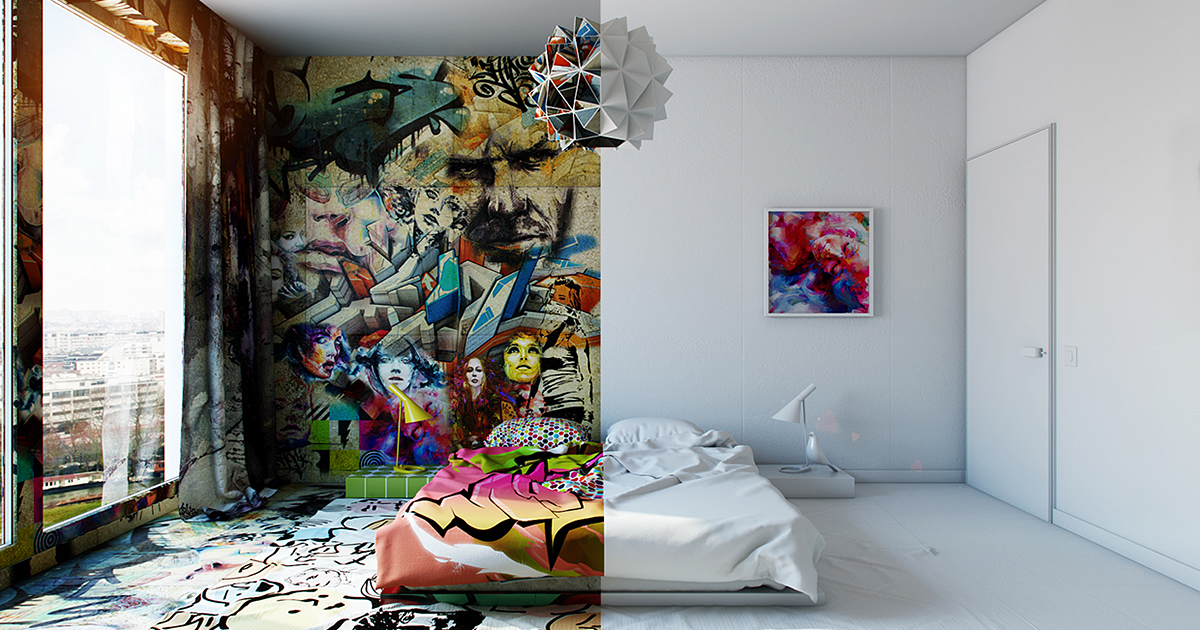 Half Graffiti White Ukrainian Artist Perfectly Divides Hotel Room