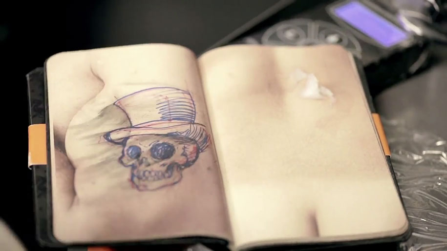 Book made of synthetic skin lets beginner tattoo artists for Artificial skin for tattooing