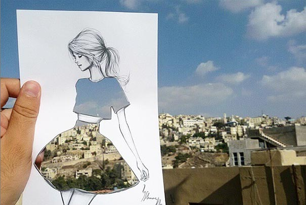 Illustrator Completes His Cut-Out Dress Sketches With ...