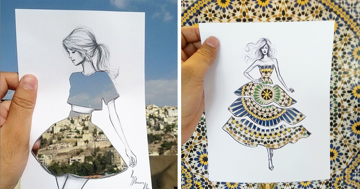 Illustrator Completes His Cut Out Dress Sketches With Urban Scenes