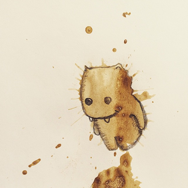 random coffee stains turned into monsters by stefan kuhnigk. Black Bedroom Furniture Sets. Home Design Ideas