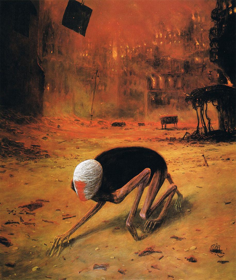 Gothic Dystopian Postapocalyptic Surreal Paintings Zdzislaw Beksinski 24