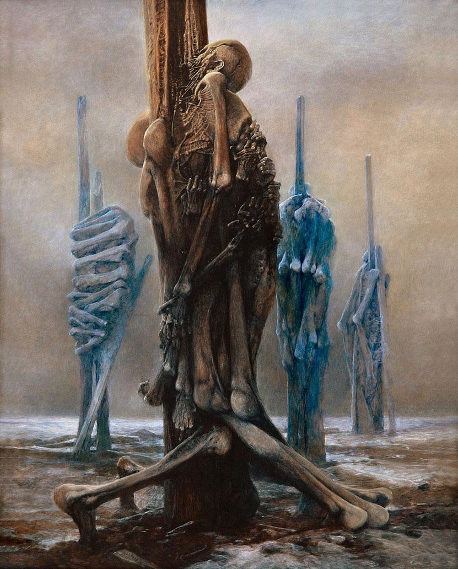 Gothic Dystopian Postapocalyptic Surreal Paintings Zdzislaw Beksinski 7
