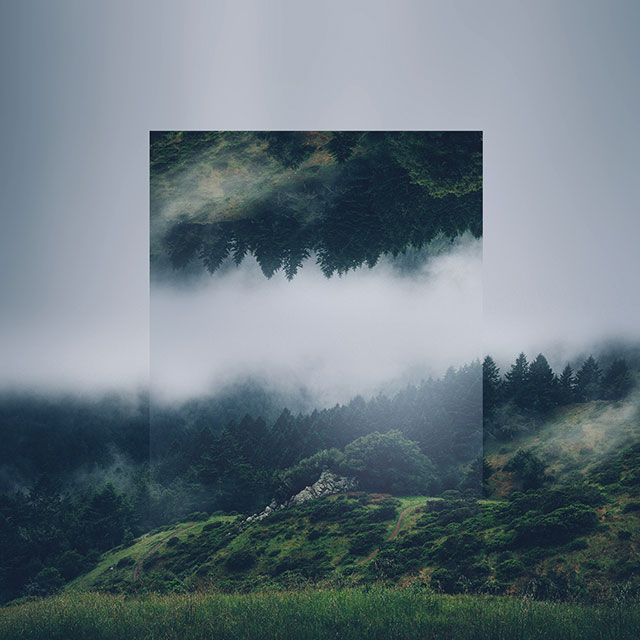 Calm and soothing geometric landscape photo manipulations for Image miroir photoshop