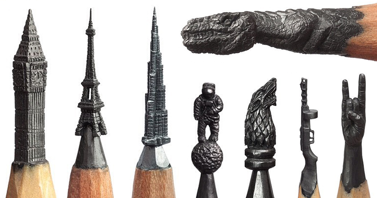 Miniature Pencil Lead Sculptures By Salavat Fidai - Artist carves miniature pop culture sculptures into pencils