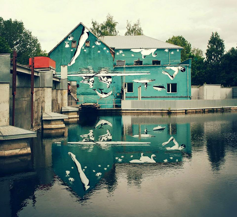 street-art-mural-reflected-water-river-ray-bartkus-marijampole-lithuania-1
