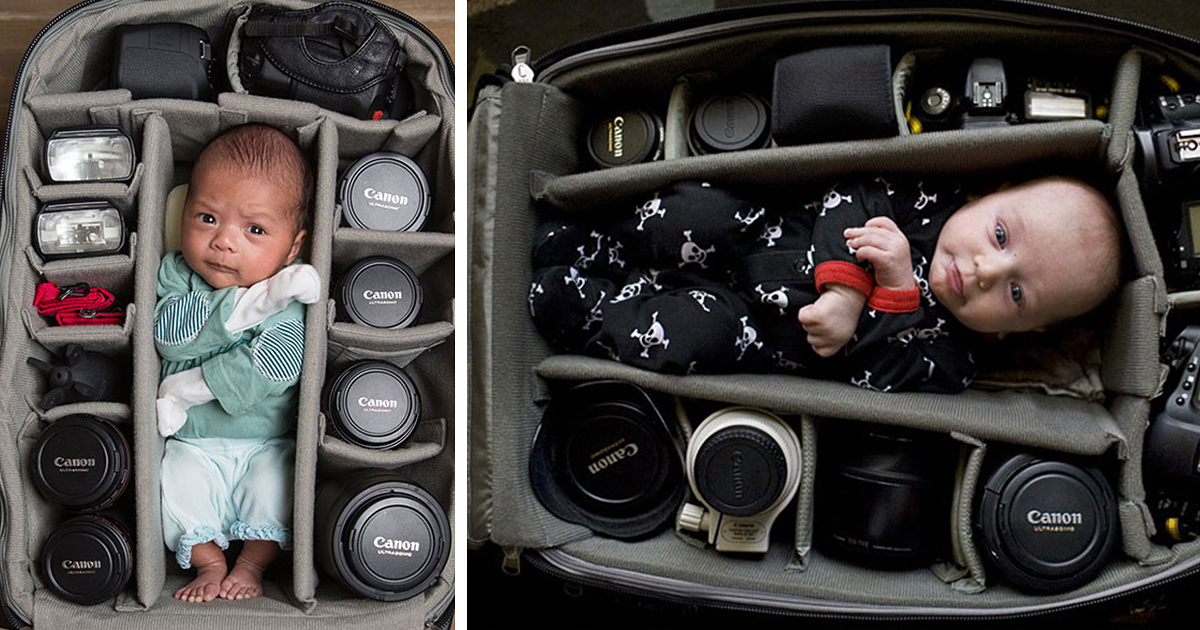 Photographers Babies Perfectly Fitting In Their Camera Bags
