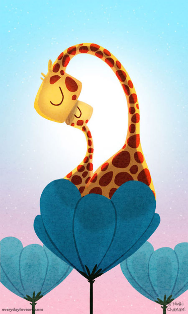 Illustration of giraffe with baby