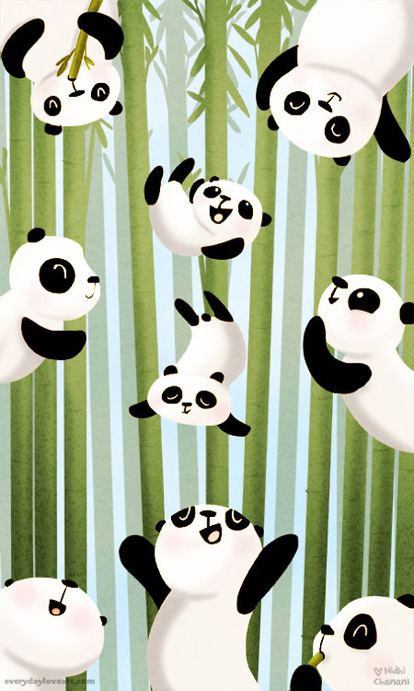 Illustration of pandas falling through bamboo