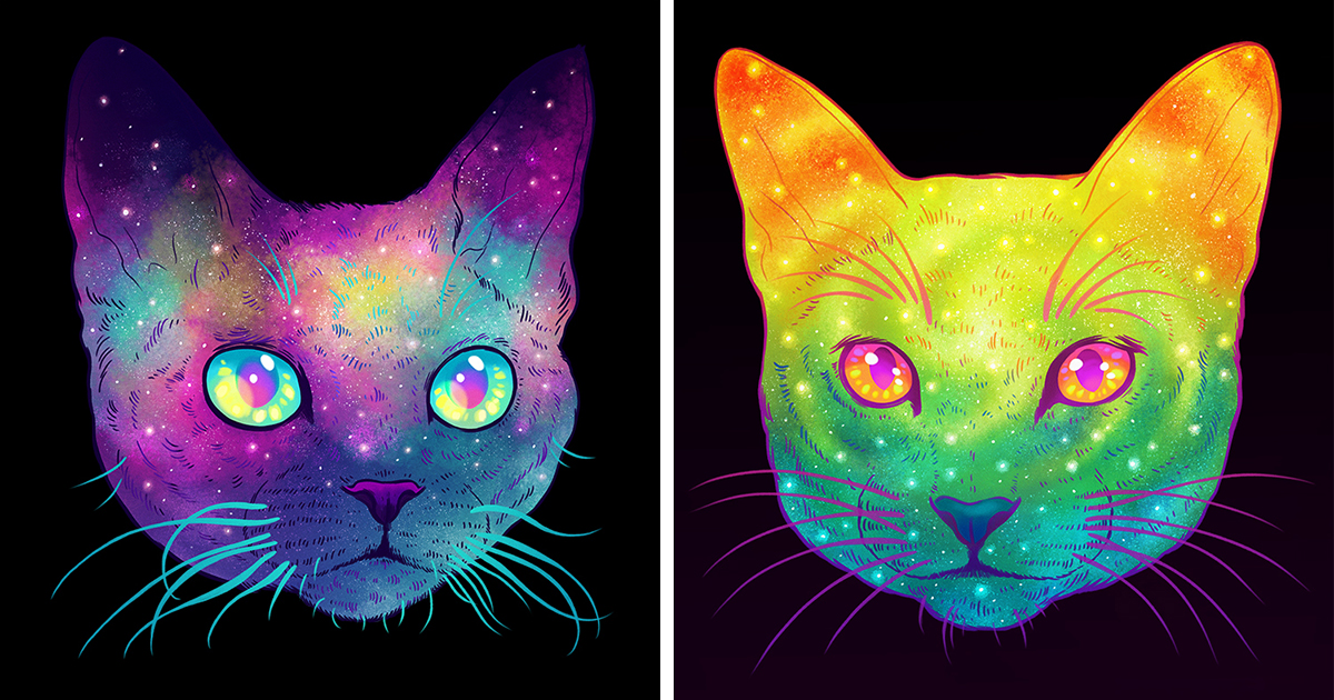 Galactic Cats: Psychedelic Illustrations Merge Cats And Space