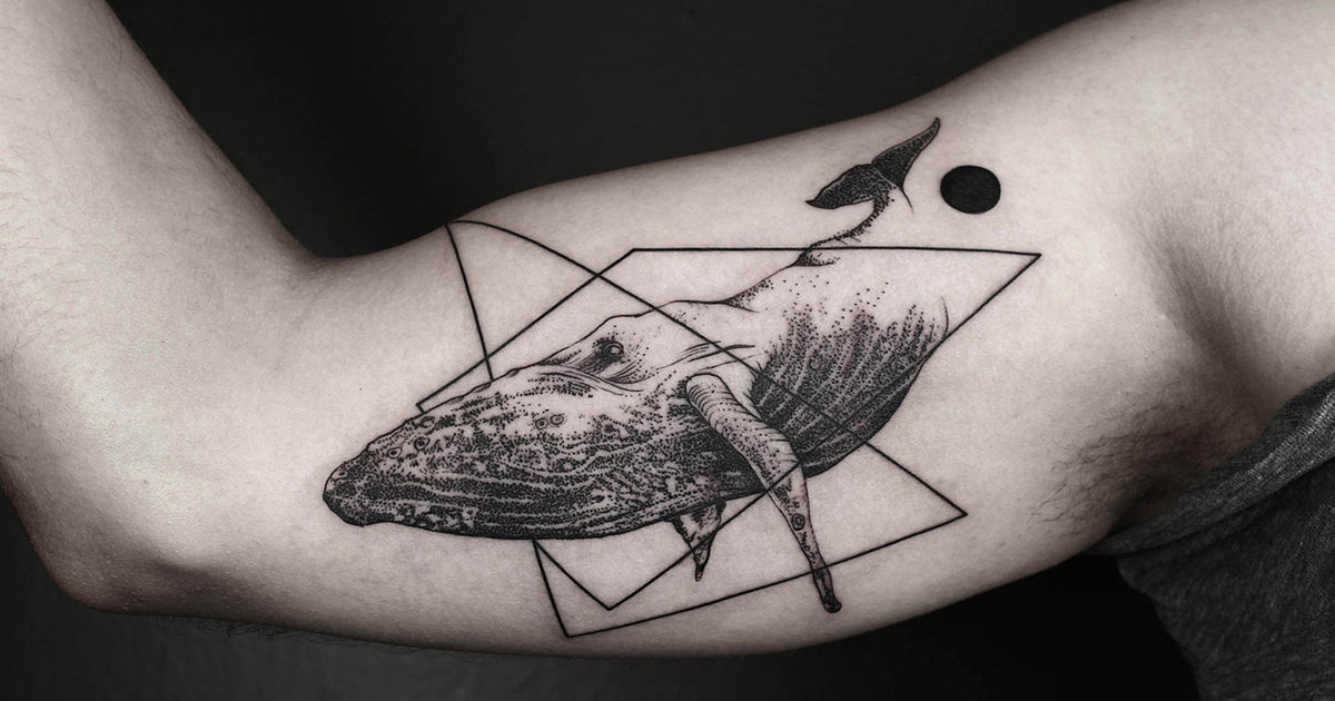 Line Art Tattoo : Geometric tattoos that combine fine lines and nature