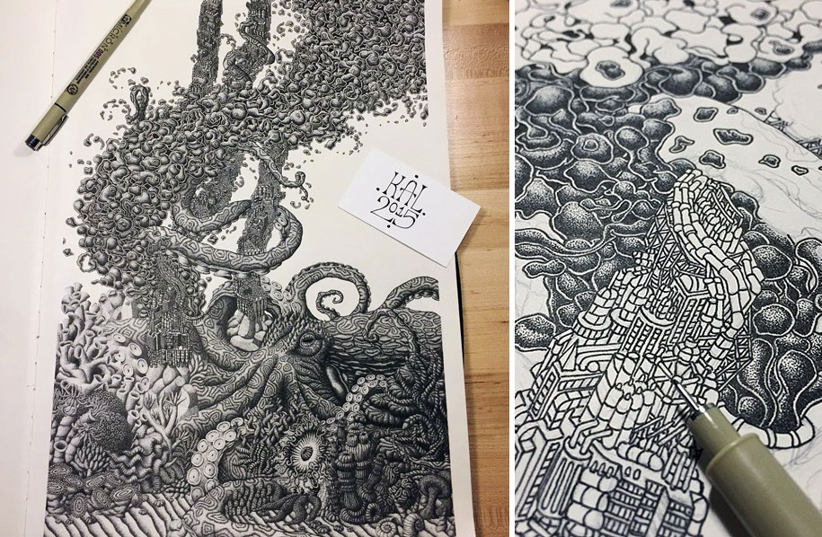 Thousands Of Dots Form Incredibly Meticulous Drawings Demilked