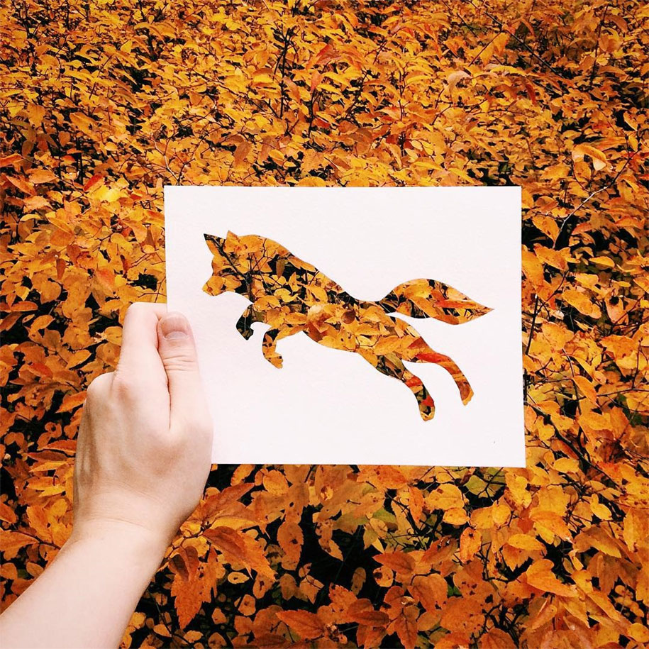 Artist Completes His Paper Cutouts Using Nature
