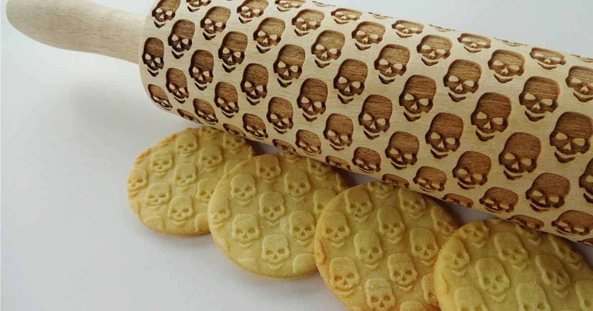 Make Skull Cookies With This Laser Engraved Wood Rolling Pin