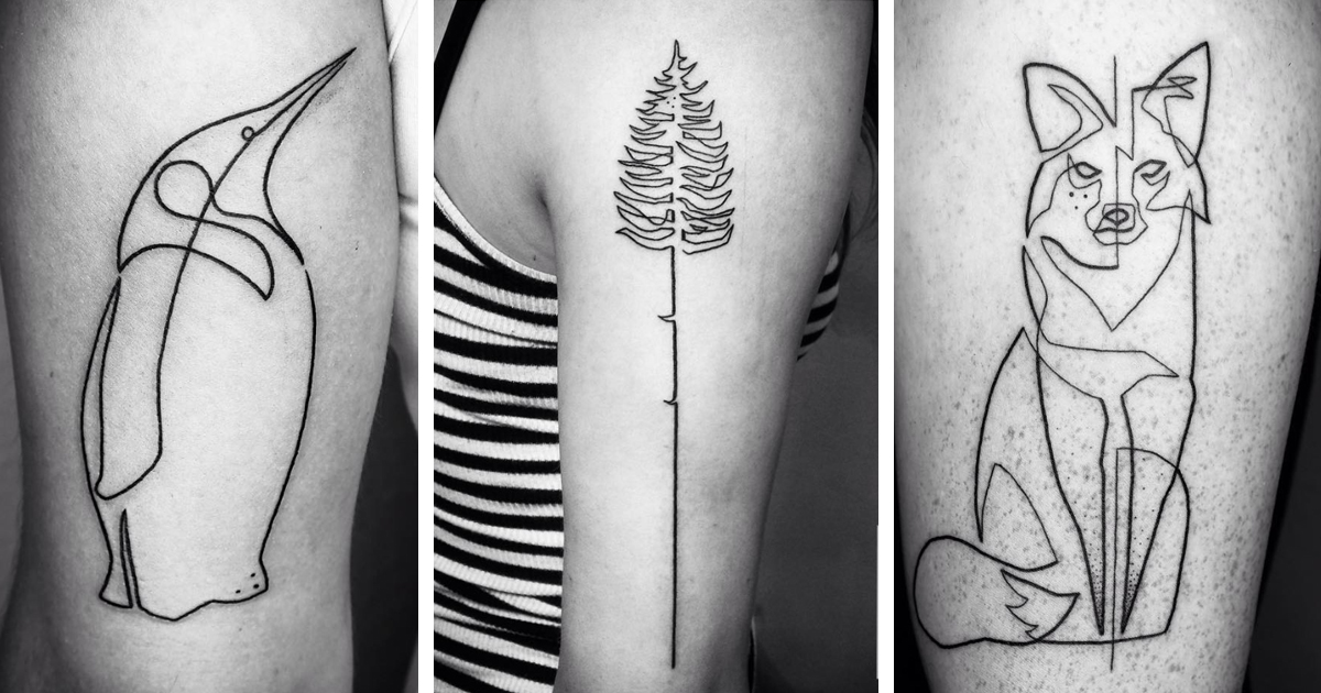 One Line Art Tattoo : Artist takes line art to next level by making single