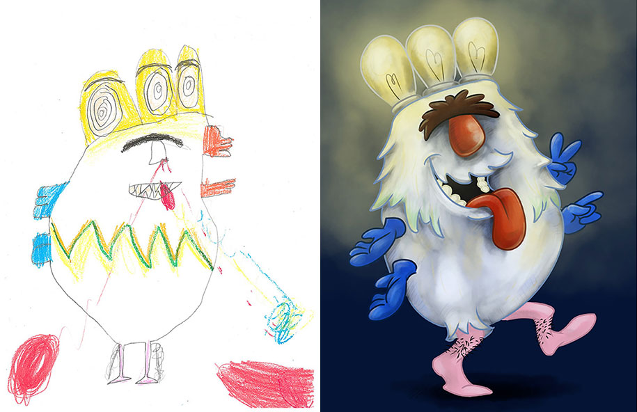 artists-redraw-children-drawings-inspiration-monster-project-1