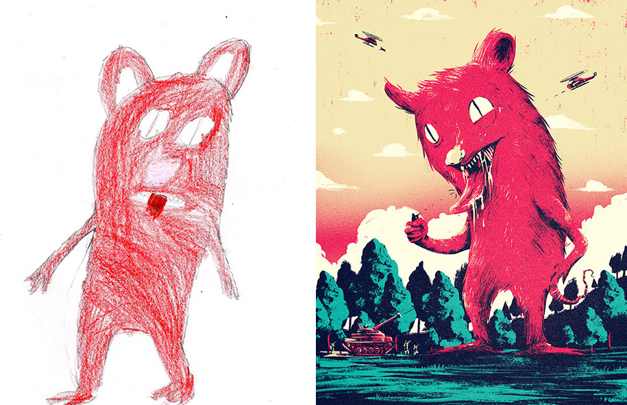 artists-redraw-children-drawings-inspiration-monster-project-11