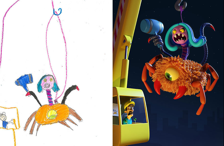 artists-redraw-children-drawings-inspiration-monster-project-14